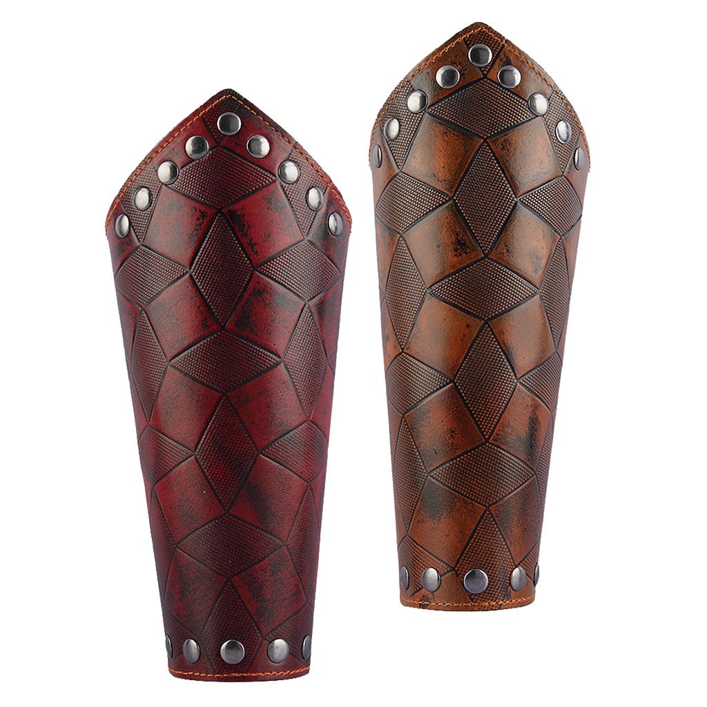 Medieval Unisex Bracers Faux Leather Gauntlet Wristband Bracers Arm Armor
