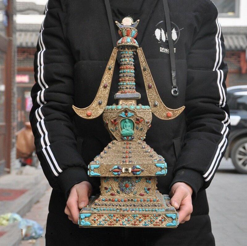 Wedding Decoration Silver Filigree Inlay Turquoise Red Coral Gem Buddha Stupa Pagoda Tower Statue
