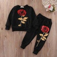 Kids Clothes Designer Girls Tracksuit 2016 Boutique Kids Clothing Rose Sequin Print Toddler Girl Clothing Set