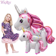 FENGRISE Unicorn Balloons Happy Birthday Baloon Party Decorations Kids Baloes Letter Foil Ballon Supplie