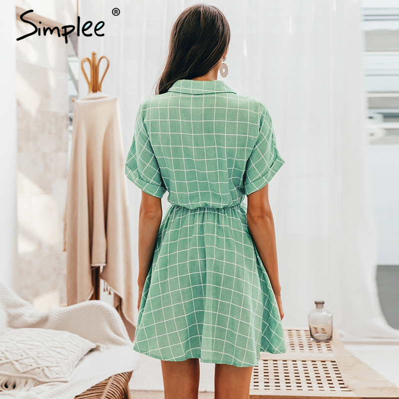 Image 4 - Simplee Elegant plaid sashes women dress Short sleeve A line casual streetwear female short dress Button summer dress 2019Dresses   -