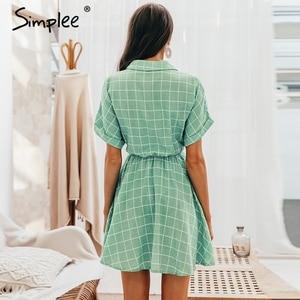 Image 4 - Simplee Thanh Lịch Kẻ Sọc Tất Nữ Tay Ngắn Chữ A Cổ Dạo Phố Nữ Đầm Ngắn Nút Mùa Hè 2019