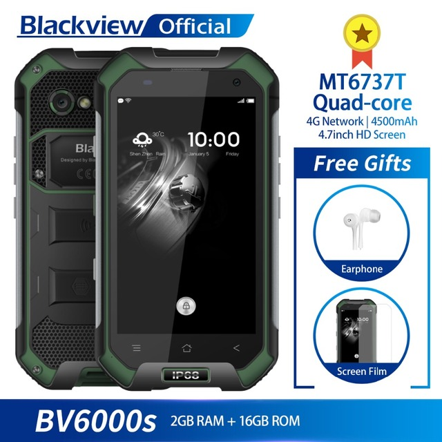 Blackview BV6000S IP68 Waterproof MT6737T Quad core Android 7.0 2GB RAM 16GB ROM 4.7inch Smartphone 8.0MP Camera 4500mAh Battery
