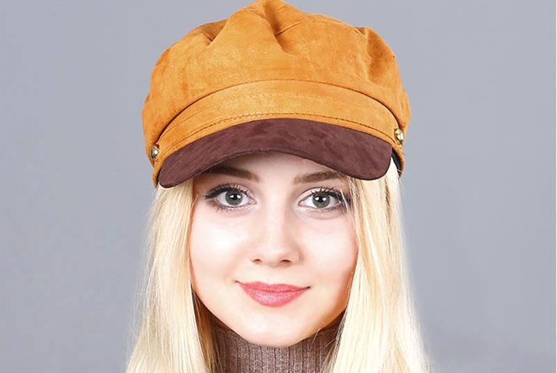 17 Autumn Octagonal Hats Flat Cap For Women Newsboy Beret Hat Female Fashion Metal Button England Style Octagonal Cap 14