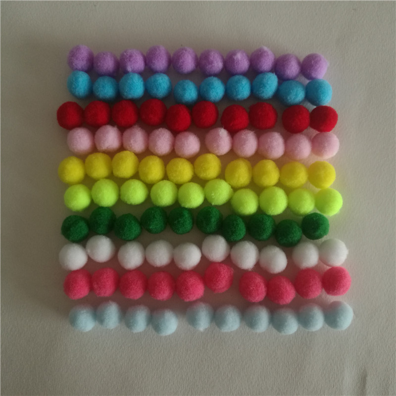 100 Ps 15mm Color Mezclado Pompones Bola Mullida de Piel Bola de Peluche Suave p