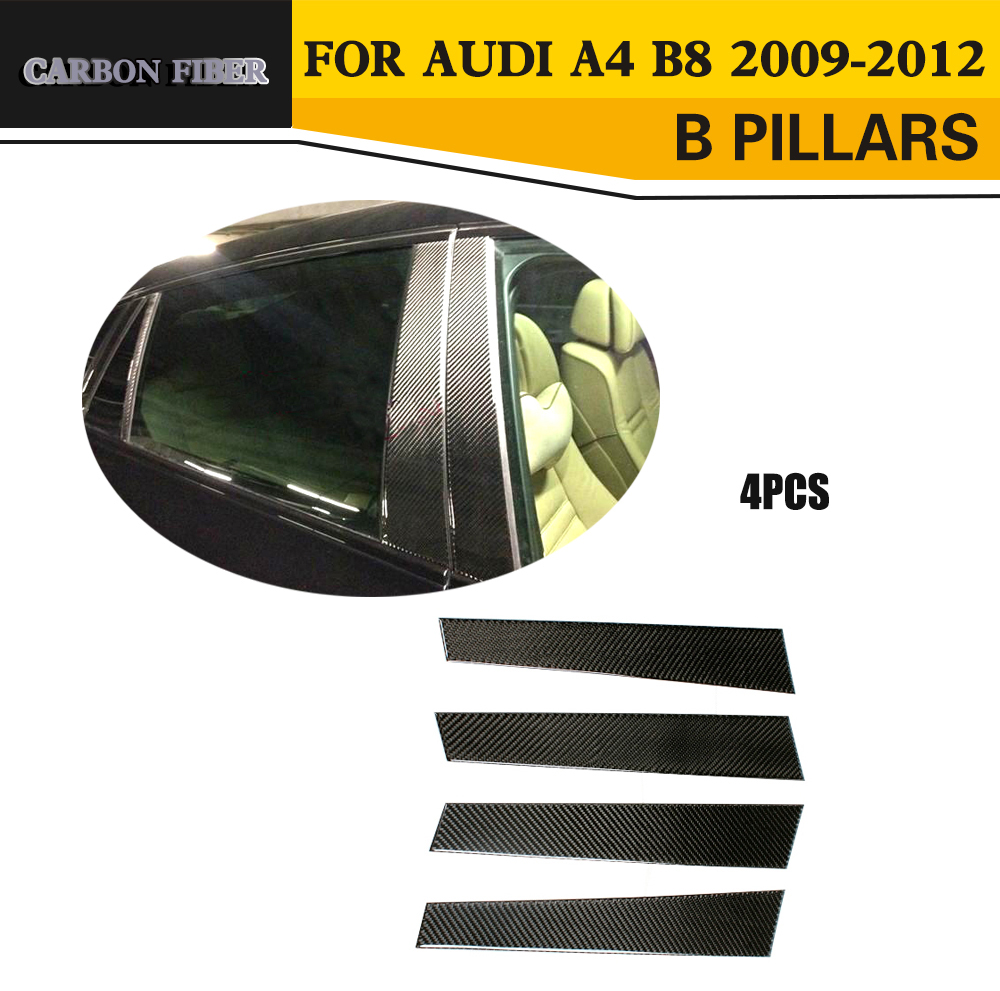 Car-Styling Carbon Fiber B Pillar Trim Cover For Audi A4 B8 2009-2012