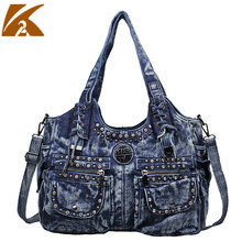 цена на Punk Fashion Rivet Shoulder Bag Handbag Ladies Casual Tote Hand Bags for Women Denim Handbags Messenger Cross Body Bags
