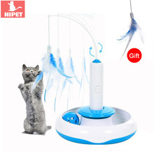 HIPET 3 in 1 Pet Cat Electric Toy Teaser Puzzle 360 degree Rotating IQ Training Detachable Feather Toys For Dog Cats Interactive