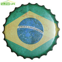 35 cm Brazylia Flaga Piwa Kapsel Metalowa Plakietka Emaliowana Vintage Home Decor Plakietka Emaliowana Dekoracje Ścienne Metalowe Znak 3D Dekoracje Ścienne Metalowe tablica