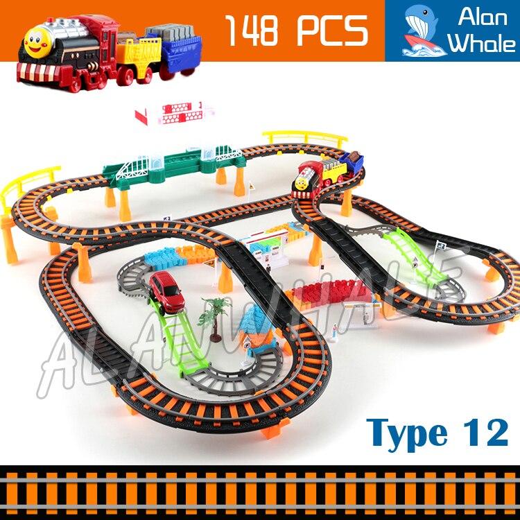 148 pièces 3D deux-couche Train Train ensemble moteurs piste rouleau électrique Musical chemin de fer son lumière voiture jouets
