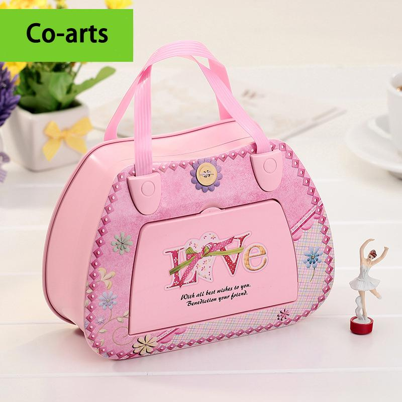 US $179 9 |Creative hand satchel pink Jewelry Box HD Music cosmetic mirror  rotating dance girl music box to send his girlfriend-in Music Boxes from