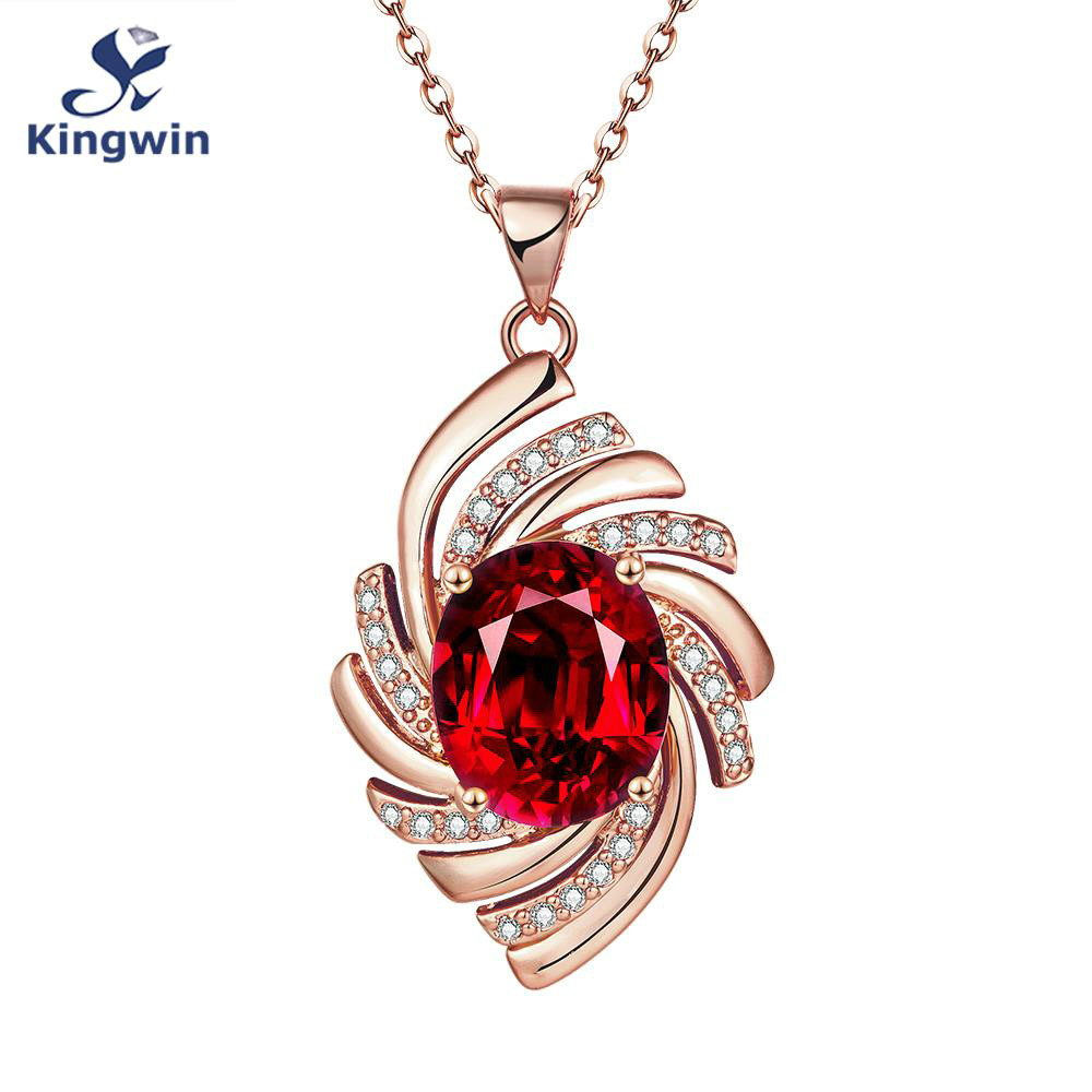 Synthetic red women pendant Necklace Rose gold color with nice