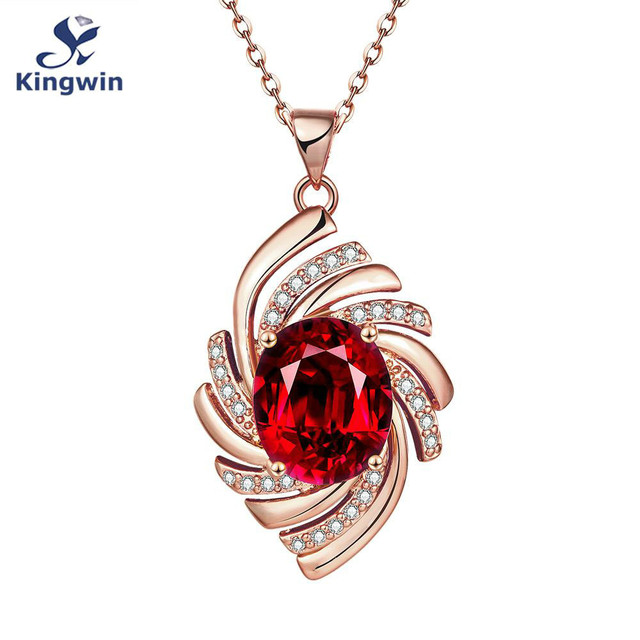 Synthetic red women pendant necklace rose gold color with nice synthetic red women pendant necklace rose gold color with nice curb chain italian designer wedding fashion mozeypictures Image collections