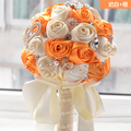 2017 Люкс Для Невесты Свадебный Букет Дешевые Новый Роскошный Кристалл Orange & Белый Ручной Искусственный Цветок Розы Свадебные Букеты
