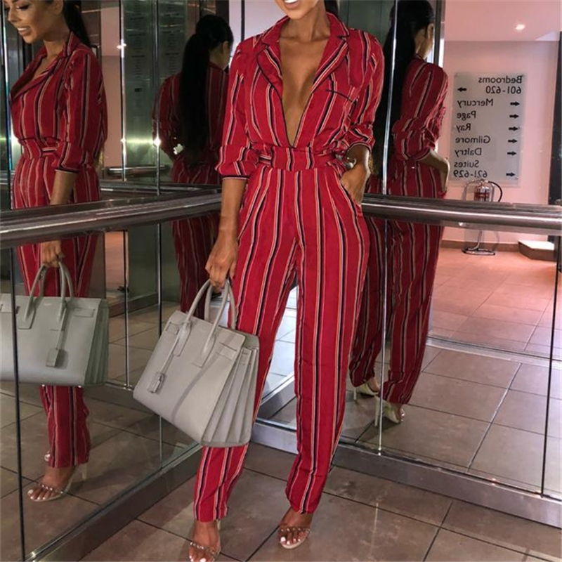 vogue women long sleeve deep v striped   jumpsuits   Ladies high street fashion clubwear belt bandage slim   jumpsuit   long Trousers