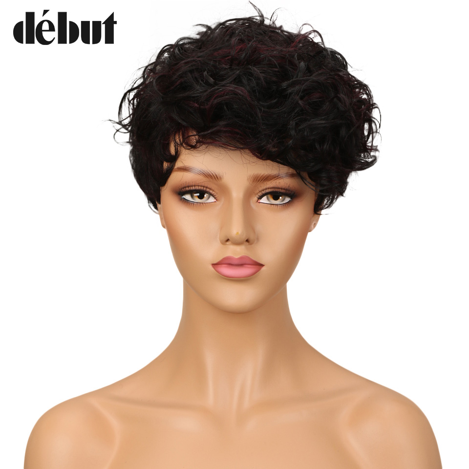 Debut Brazilian Water Wave Remy Hair Short Human Hair Wigs For Black Women Mohawk Machine Made Wigs Natural Black Color Red Rat