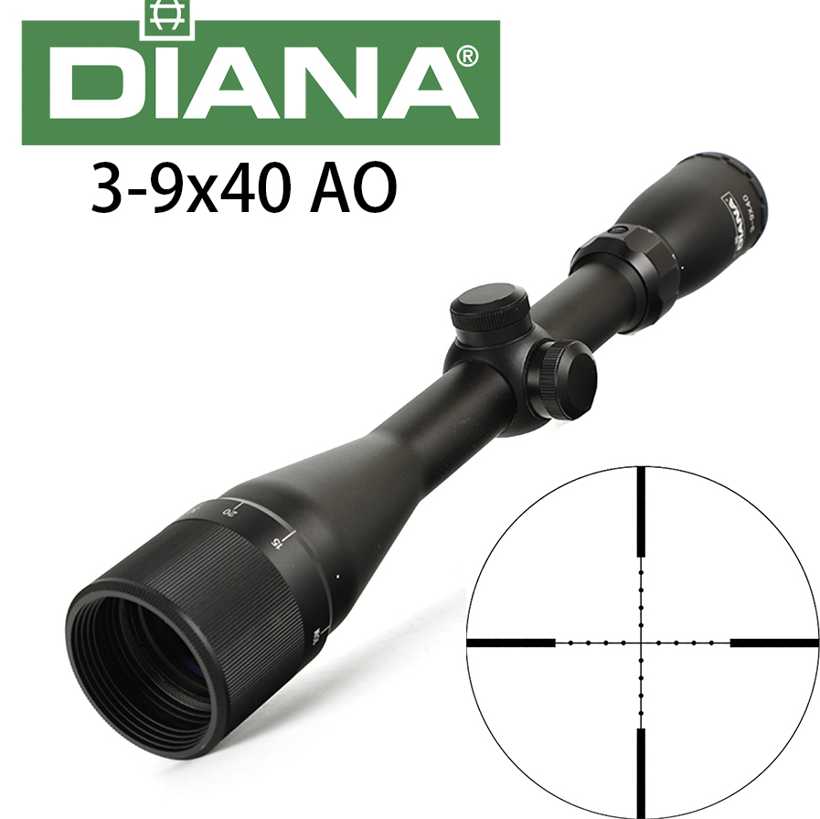 DIANA 3-9X40 AO Tactical Riflescopes 25.4mm One Tube Mil Dot Reticle Optical Sight Hunting Rifle Scope