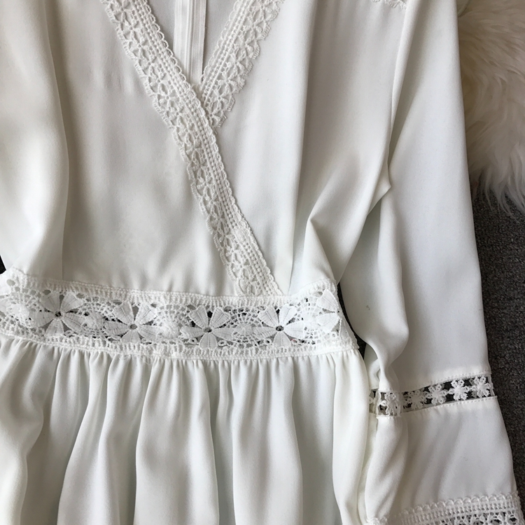 Women Bohemian Dress Lady Half Sleeve V Neck Red and White Beach Holiday Elegant Vestidos E152 33