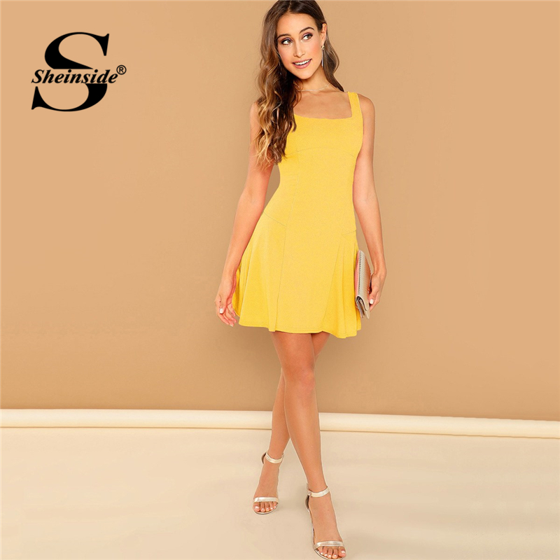 Sheinside Bright Yellow Square Neck Fit And Flare Dress Sleeveless Elegant Tank Dress 2019 Summer Ladies Solid Basics Mini Dress