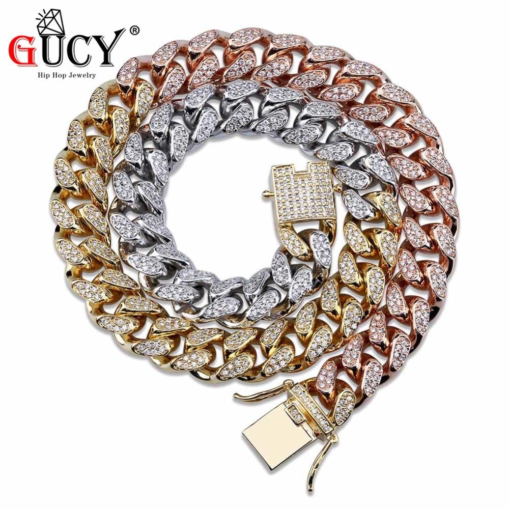 GUCY Hip Hop 14mm Cuban Chain Necklace Micro Pave Cubic Zircon Stones Tricolor Necklaces Gold Silver