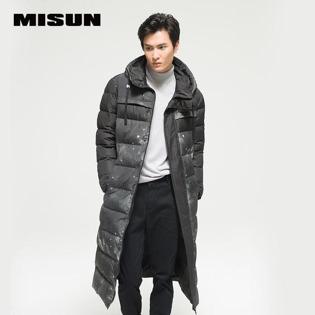 Misun 2016 remiendo de la impresión de largo párrafo ultra delgado engrosamiento abajo de la capa masculina diseño de los amantes