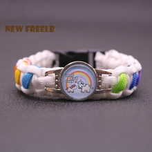 Father's Day Gift Best Unicorn Dad Paracord Bracelets Rainbow Love Jewelry for Great PAPA Son Daughter Personalise Custom Men