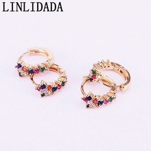 6Pairs,New Multicolor Zircon Fashion Earrings cz micro pave gold color Party Jewelry earrings
