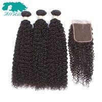 Allrun Mongoolse Kinky Krullend Haar Remy Bundels 3 Bundels Met Sluiting 100% Human Hair Extensiones Vrouwen Haar Bundels