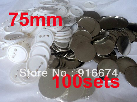 Fast Free shipping Discount  75mm 100 Sets Professional Badge Button Maker Pin Back Pinback Button Supply Materials free shipping new pro 1 1 4 32mm badge button maker machine adjustable circle cutter 500 sets pinback button supplies