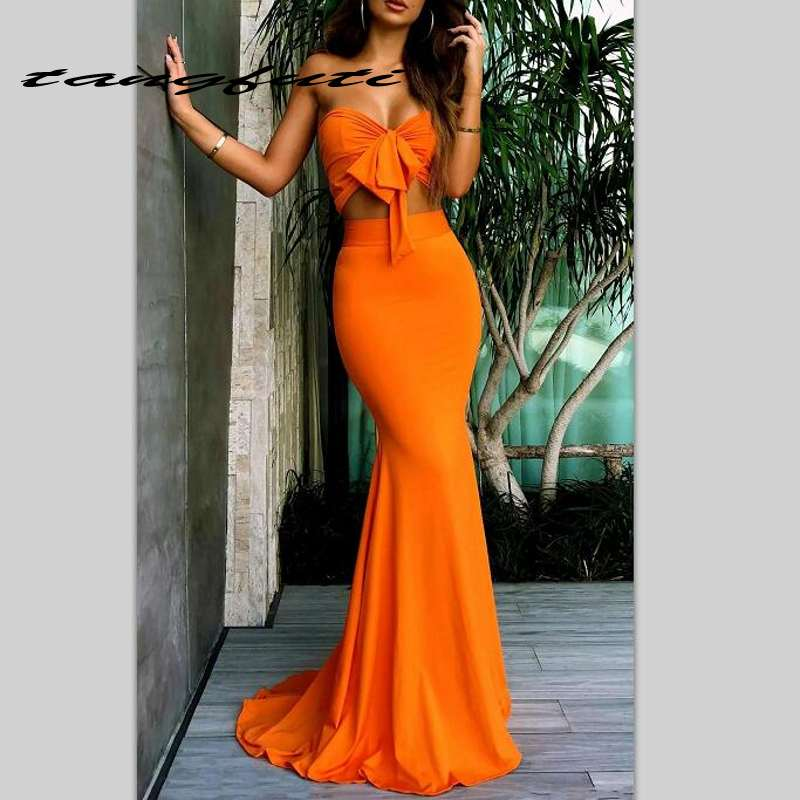 Sexy Two Pieces   Prom     Dresses   Bow Strapless Mermaid Evening Gowns Formal Party   Dresses   Sweep Train   Prom     Dress
