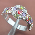 Stamped  925 Silver Multicolor Cubic Zirconia For Women Jewelry Rings Free Shipping Size 6 7 8 9 SA030