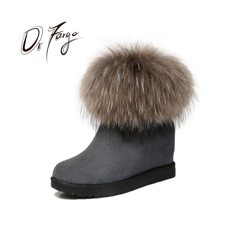 DRFARGO Genuine Leather Women Snow Boots Real Fox Fur Top Shoes Women Winter Round Toe Wedged Heel side zip Grey Black size34-40DRFARGO Genuine Leather Women Snow Boots Real Fox Fur Top Shoes Women Winter Round Toe Wedged Heel side zip Grey Black size34-40