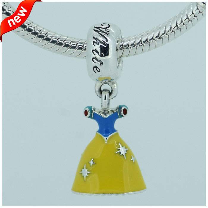 Fits Pandora Charms Bracelet DIY Beads Snow White Dress Silver Dangle with Yellow Red & Blue Enamel 925 Sterling Silver Jewelry