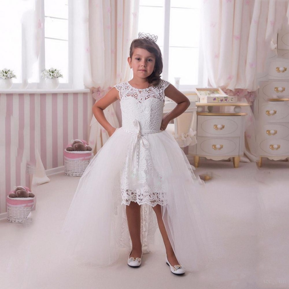 White Lace Girls Dresses with Detachable Train Elegant Hi-Lo Flower Girl Dresses for Wedding Kids Prom Gown