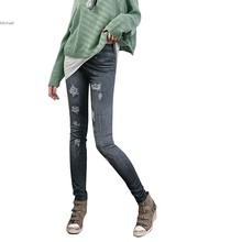 New Women Jeggings Stretch Skinny Leggings Pencil Pants Casual Large Grinding Holes Printing Jeans 10