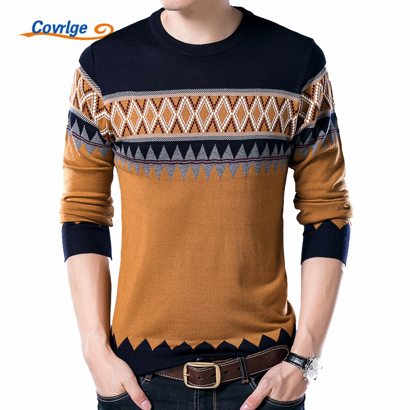 Covrlge New Male Sweater 2019 Autumn Winter Fashion O-neck Pullover Casual Slimfit Mens Wool Knitted Polo Shirt Sweaters MZL014