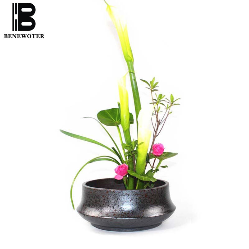 Zen Japanese Style Flower Arrangement Pots Vintage Coarse Pottery Flower Pot Ceramic Planters Tea Wash Fish Tank Storage Basin Vases Aliexpress