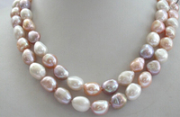 FREE SHIPPING>> stunning 2rows BIG baroque multicolor freshwater pearl necklace