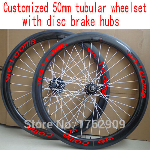 цена на New customized 700C 50mm tubular rim light Road bike 3K UD 12K full carbon fibre bicycle wheelset with disc brake hubs Free ship