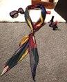 [Limón agrio] lo nuevo de Cuero Plegable Hebilla Pequeña Cinta de Superficie Fina Seda Bufandas Mujeres Bufanda de Seda Largo Decorado Decoración Del Partido