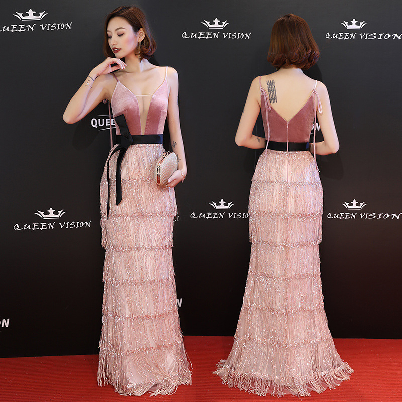 Sleeveless Evening Dress Pink Sequins Tassel Fashion Spaghetti Strap Party Gowns Formal Trumpet Zipper Long Prom Dresses E043