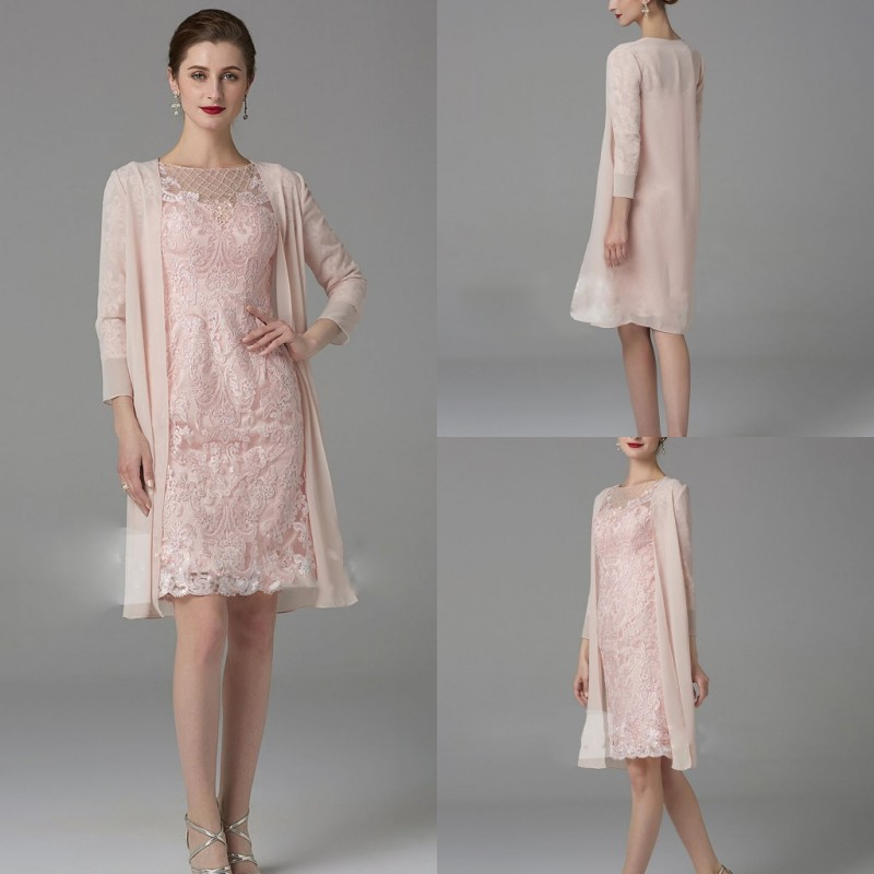 2019 Elegant Pink Mother of the Bride Dresses Long Sleeves Chiffon 2 Pieces Evening Gowns Custom Made Knee-Length Prom Dress