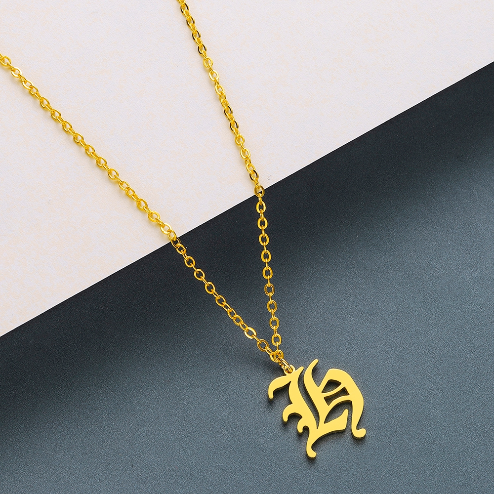 Todorova Old English Custom Capital Initial A-Z Letter Pendant Necklace Men Vintage Font Personalized Necklace Women Jewelry 23