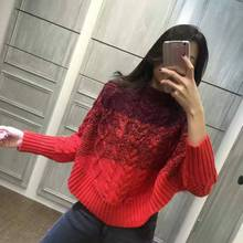 2016 Microfiber Full Top Fashion Cotton Women Sweater Pullover 2017 Spring New 's Stand Collar Color Leisure Knitted Bat Sleeve