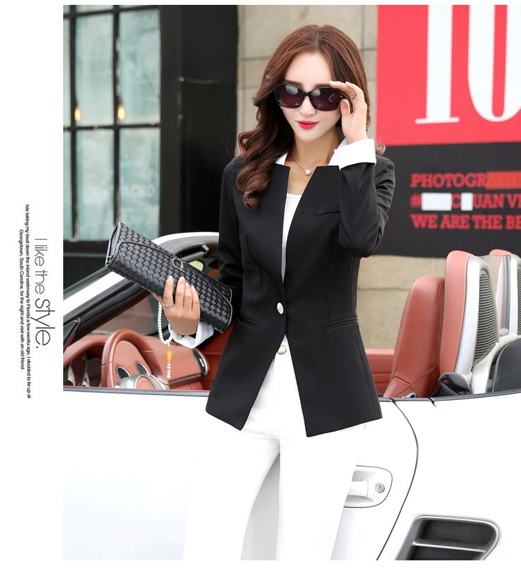 Autumn Spring Chic Office Ladies Stand Collar Blazers Pink Black Jackets For Gentle Women Silm Business Casual Wear Jaqueta Feminina dd