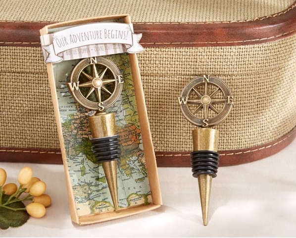 100pcs Lot FREE SHIPPING Our Adventure Begins Compass Wine Bottle Stopper Bridal Wedding Favors Party