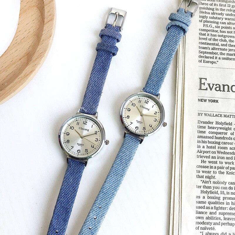 Casual Vintage Blue Leather Quartz Watch Women Fashion Silver Dial Design Wristwatches Simple Female Quartz Watch Woman Clock