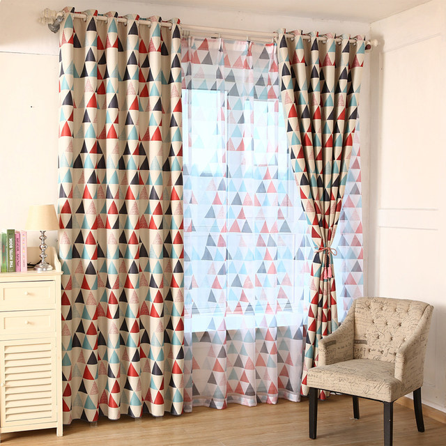 Triangle Print Window Modern Style Curtains For Living Room Blackout Curtain Green Blue Pastoral Voile Tulle Drapes FD64