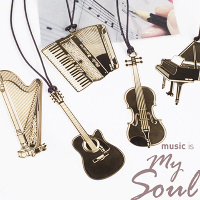 Cute Kawaii Golden Metal Music Bookmarks Piano Guitar Trumpet Designs Book marks Korean Stationery Gifts Student 822 dedo music gifts mg 308 pure handmade rotating guitar music box blue