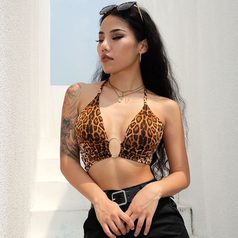 Weekeep Sexy Halter Leopard Backless Camis Women Cropped Halter 2018 Summer Women Fashion Streetwear Club Patchwork